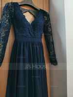 Chiffon Lace Bridesmaid Dress (266234595)