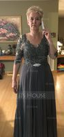 V-neck Floor-Length Chiffon Lace Mother of the Bride Dress (267196563)
