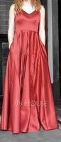 A-Line V-neck Floor-Length Satin Prom Dresses With Pockets (018254408)