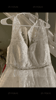 Ball-Gown/Princess V-neck Court Train Tulle Wedding Dress With Beading Sequins (002186387)