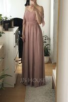 A-Line Off-the-Shoulder Floor-Length Chiffon Bridesmaid Dress With Ruffle (266251237)