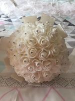 Classic Round Satin/Foam/Rhinestone Bridal Bouquets (Sold in a single piece) - (123147234)