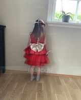 Ball-Gown/Princess Knee-length Flower Girl Dress - Tulle Sleeveless Scoop Neck With Bow(s) (010225333)
