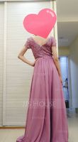 A-Line V-neck Floor-Length Chiffon Bridesmaid Dress With Split Front (266251782)