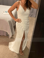 Sheath/Column V-neck Sweep Train Stretch Crepe Wedding Dress With Ruffle Split Front (002153443)