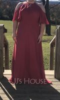 A-Line Scoop Neck Floor-Length Chiffon Bridesmaid Dress (266235718)