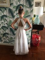 Floor-length Flower Girl Dress - Chiffon Sleeveless Scoop Neck With Ruffles (269203006)