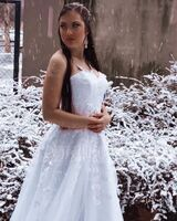 Ball-Gown/Princess Sweetheart Court Train Tulle Wedding Dress (002186389)