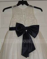 A-Line Floor-length Flower Girl Dress - Satin/Tulle/Lace Sleeveless Scoop Neck With Bow(s) (Undetachable sash) (010183560)