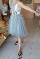 A-Line/Princess Knee-length Flower Girl Dress - Tulle Sleeveless Scoop Neck With Flower(s)/Sequins (010093249)
