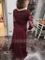 A-Line V-neck Floor-Length Chiffon Lace Mother of the Bride Dress With Ruffle (008205184)