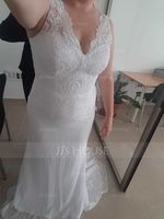 Trumpet/Mermaid V-neck Court Train Chiffon Wedding Dress (265176897)