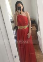 A-Line One-Shoulder Floor-Length Chiffon Prom Dresses With Ruffle Beading Sequins Split Front (018020706)