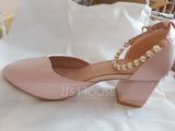 Women's Leatherette Chunky Heel Closed Toe Pumps With Imitation Pearl (273177537)