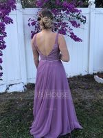 A-Line V-neck Floor-Length Tulle Lace Bridesmaid Dress (266253120)