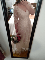 A-Line V-neck Court Train Wedding Dress With Sequins (002254053)