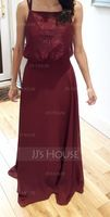Square Neckline Floor-Length Chiffon Lace Bridesmaid Dress (266213450)