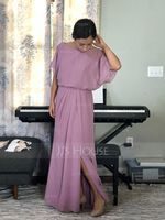 Chiffon Bridesmaid Dress With Ruffle Split Front (266210042)