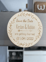 Personalized Round Wooden Save-the-date Magnets (Set of 10) (118215524)