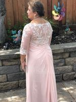 V-neck Floor-Length Chiffon Lace Mother of the Bride Dress With Ruffle (267236712)