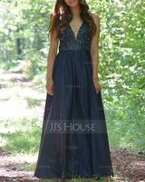 V-neck Floor-Length Satin Prom Dresses (272214546)