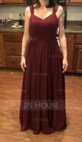 A-Line Sweetheart Floor-Length Chiffon Bridesmaid Dress With Ruffle Pockets (007233649)
