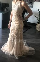 Trumpet/Mermaid Scoop Neck Sweep Train Tulle Prom Dresses With Sequins (272207828)