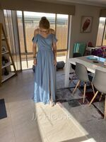 A-Line V-neck Floor-Length Chiffon Prom Dresses With Bow(s) Split Front Cascading Ruffles (018116383)