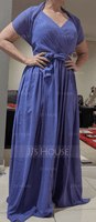 A-Line/Princess V-neck Floor-Length Chiffon Bridesmaid Dress With Ruffle (007116662)