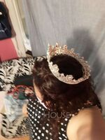 Ladies Magnificent Alloy Tiaras With Rhinestone/Venetian Pearl (042225027)