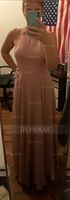 A-Line Scoop Neck Square Neckline Floor-Length Chiffon Evening Dress (017219168)