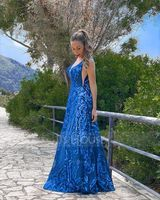 A-Line V-neck Floor-Length Sequined Prom Dresses (018220227)