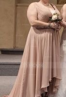 V-neck Asymmetrical Chiffon Bridesmaid Dress (266213341)