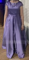 Scoop Neck Floor-Length Satin Lace Junior Bridesmaid Dress With Bow(s) Pockets (268250986)
