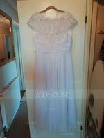 Scoop Neck Asymmetrical Chiffon Wedding Dress (265236624)