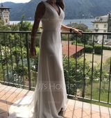 V-neck Sweep Train Chiffon Wedding Dress With Ruffle (265193298)