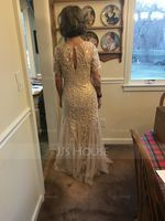Trumpet/Mermaid Scoop Neck Floor-Length Tulle Lace Mother of the Bride Dress With Beading Sequins (267201838)