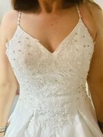 Ball-Gown/Princess V-neck Sweep Train Satin Lace Wedding Dress With Lace Beading Sequins Pockets (002250162)