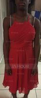 A-Line Scoop Neck Knee-Length Chiffon Bridesmaid Dress With Ruffle (266253087)