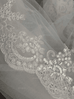 One-tier Lace Applique Edge Cathedral Bridal Veils With Lace (006219777)
