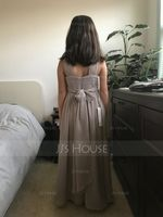 Floor-length Flower Girl Dress - Chiffon Sleeveless V-neck With Ruffles Bow(s) (269193697)