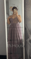 V-neck Floor-Length Tulle Prom Dresses With Lace Beading Sequins Split Front (272235684)
