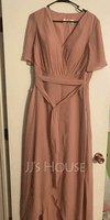 A-Line V-neck Asymmetrical Chiffon Bridesmaid Dress With Bow(s) (007251390)