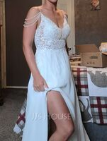 A-Line V-neck Sweep Train Chiffon Lace Wedding Dress With Beading Sequins (002250149)