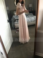 A-Line Scoop Neck Floor-Length Chiffon Lace Prom Dresses With Pockets (018229925)