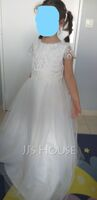 Ball-Gown/Princess Floor-length Flower Girl Dress - Tulle Lace Short Sleeves Scoop Neck With Bow(s) (269251535)