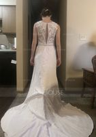 Trumpet/Mermaid Scoop Neck Court Train Stretch Crepe Wedding Dress With Beading Sequins (002186392)