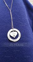 Custom Silver Heart Engraving/Engraved Circle Necklace With Flower - Birthday Gifts Mother's Day Gifts (288221640)