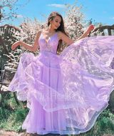 A-Line V-neck Floor-Length Tulle Prom Dresses With Sequins (018224420)
