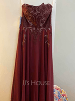 A-Line Scoop Neck Floor-Length Chiffon Prom Dresses With Lace Sequins (018220247)